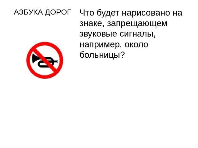 АЗБУКА ДОРОГ Что будет нарисовано на знаке, запрещающем звуковые сигналы, нап...