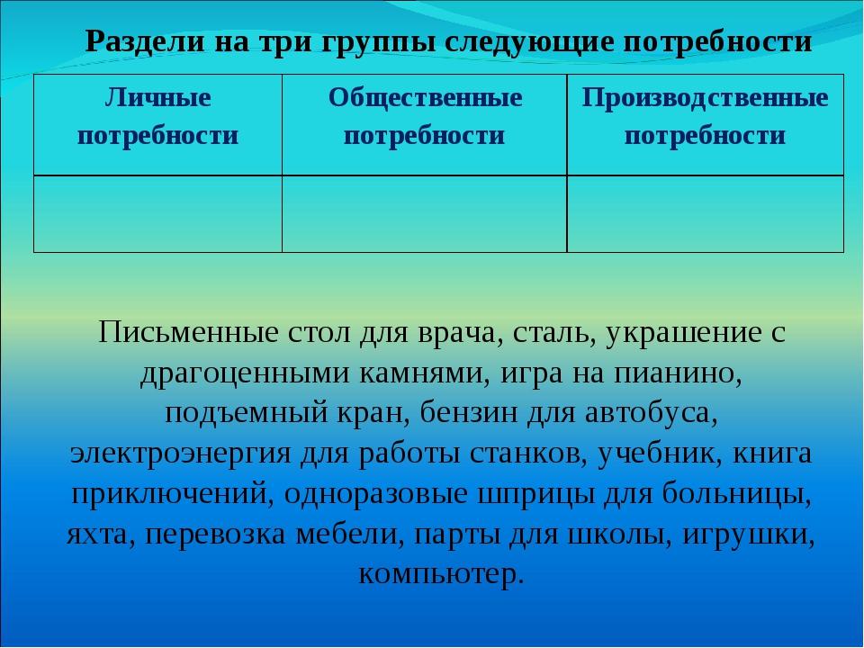 Раздели на три группы следующие потребности Письменные стол для врача, сталь,...