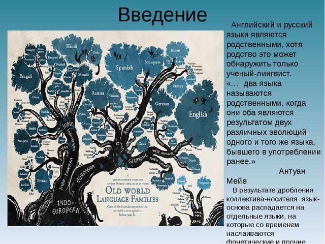Введение Английский и русский языки являются родственными, хотя родство это м...
