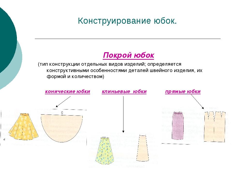 Конструирование юбок. Покрой юбок (тип конструкции отдельных видов изделий; о...