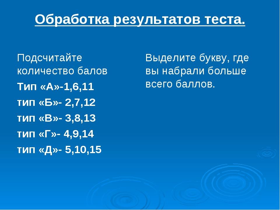 Обработка результатов теста. Подсчитайте количество балов Тип «А»-1,6,11 тип...