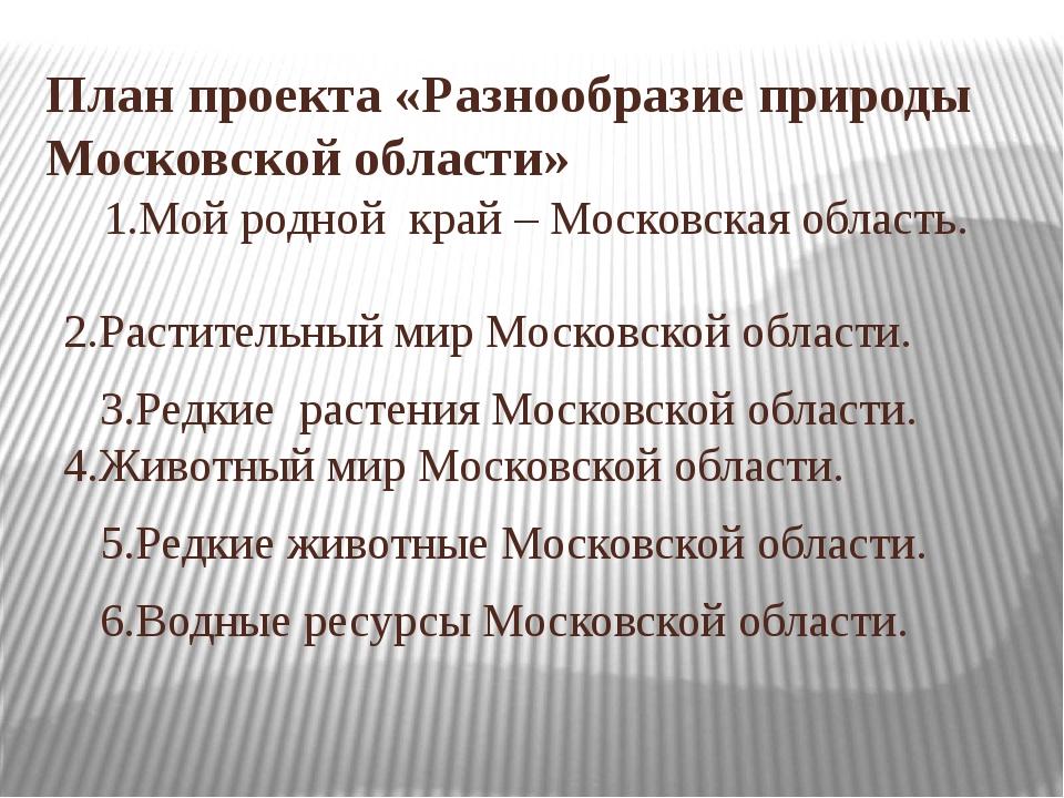 План проекта «Разнообразие природы Московской области» 1.Мой родной край – Мо...