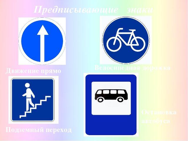 Предписывающие знаки Подземный переход Движение прямо Велосипедная дорожка Ос...