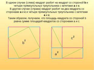 В одном случае (слева) квадрат разбит на квадрат со стороной b и четыре прямо