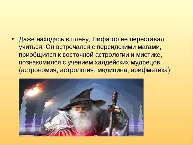 Даже находясь в плену, Пифагор не переставал учиться. Он встречался с персидс...