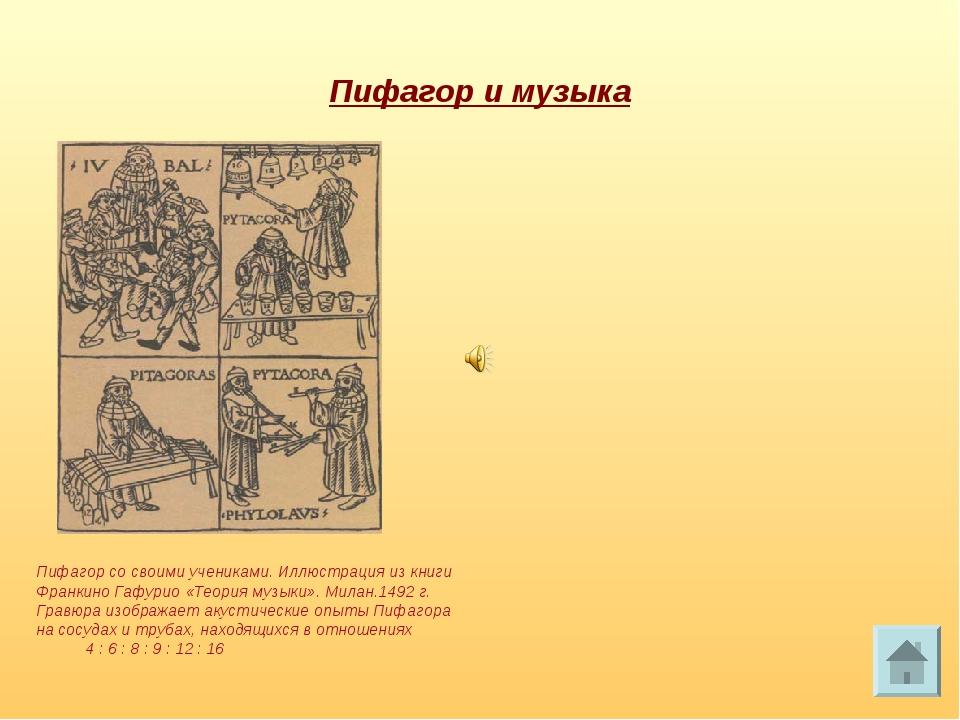 Пифагор и музыка Пифагор со своими учениками. Иллюстрация из книги Франкино Г...