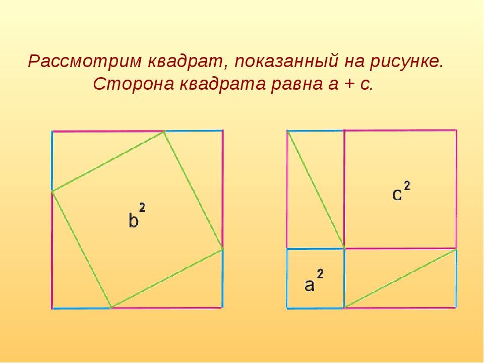 Рассмотрим квадрат, показанный на рисунке. Сторона квадрата равна a + c.