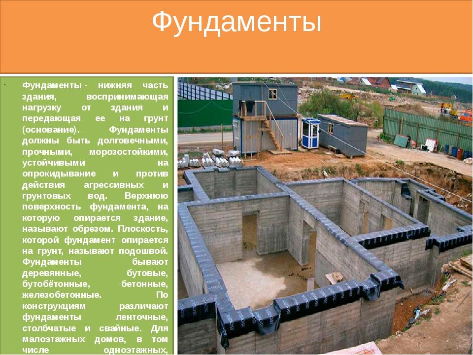 Фундаменты Фундаменты- нижняя часть здания, воспринимающая нагрузку от здани...