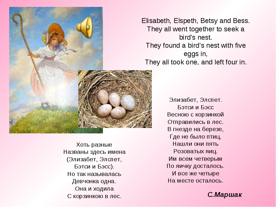Elisabeth, Elspeth, Betsy and Bess. They all went together to seek a bird's n...