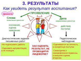 ???? 3. РЕЗУЛЬТАТЫ Как увидеть результат воспитания? ПРОЯВЛЕНИЕ Слова осмысле