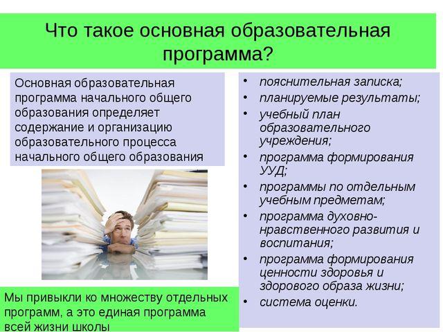 Что такое основная образовательная программа? пояснительная записка; планируе...