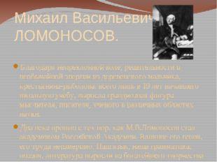 Михаил Васильевич ЛОМОНОСОВ. Благодаря непреклонной воле, решительности и нео