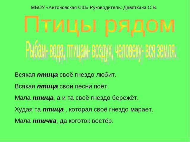 МБОУ «Антоновская СШ».Руководитель: Девяткина С.В. Всякая птица своё гнездо...