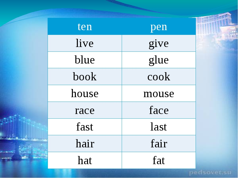 ten pen live give blue glue book cook house mouse race face fast last hair fa...