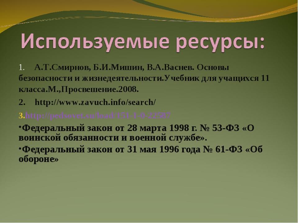 1. А.Т.Смирнов, Б.И.Мишин, В.А.Васнев. Основы безопасности и жизнедеятельност...