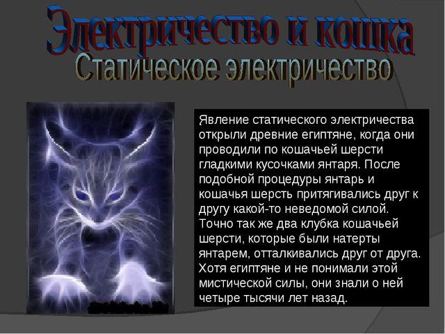 Явление статического электричества открыли древние египтяне, когда они провод...