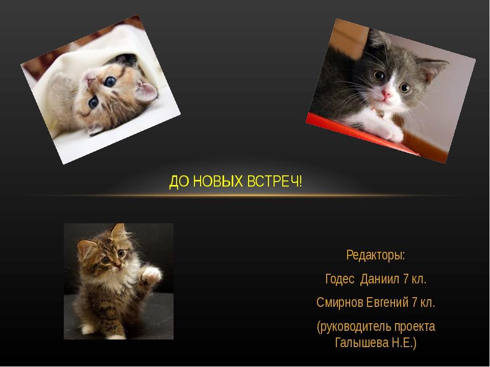 Редакторы: Годес Даниил 7 кл. Смирнов Евгений 7 кл. (руководитель проекта Га...