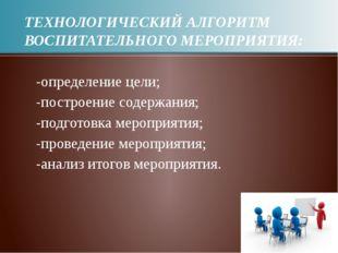 ТЕХНОЛОГИЧЕСКИЙ АЛГОРИТМ ВОСПИТАТЕЛЬНОГО МЕРОПРИЯТИЯ: -определение цели; -пос