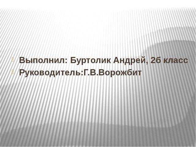 Выполнил: Буртолик Андрей, 2б класс Руководитель:Г.В.Ворожбит