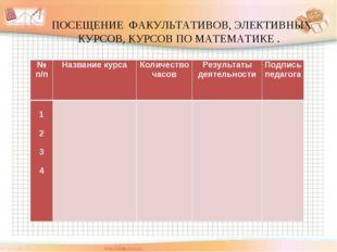ПОСЕЩЕНИЕ ФАКУЛЬТАТИВОВ, ЭЛЕКТИВНЫХ КУРСОВ, КУРСОВ ПО МАТЕМАТИКЕ . № п/пНа