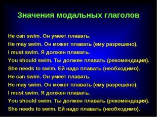 He саn swim. Он умеет плавать. He may swim. Он может плавать (ему разрешено).