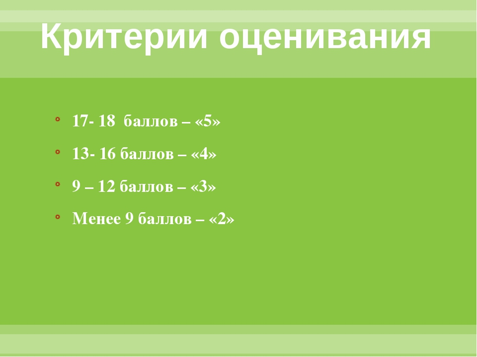 Критерии оценивания 17- 18 баллов – «5» 13- 16 баллов – «4» 9 – 12 баллов – «...