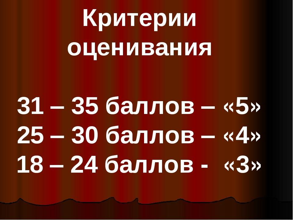 Критерии оценивания 31 – 35 баллов – «5» 25 – 30 баллов – «4» 18 – 24 баллов...
