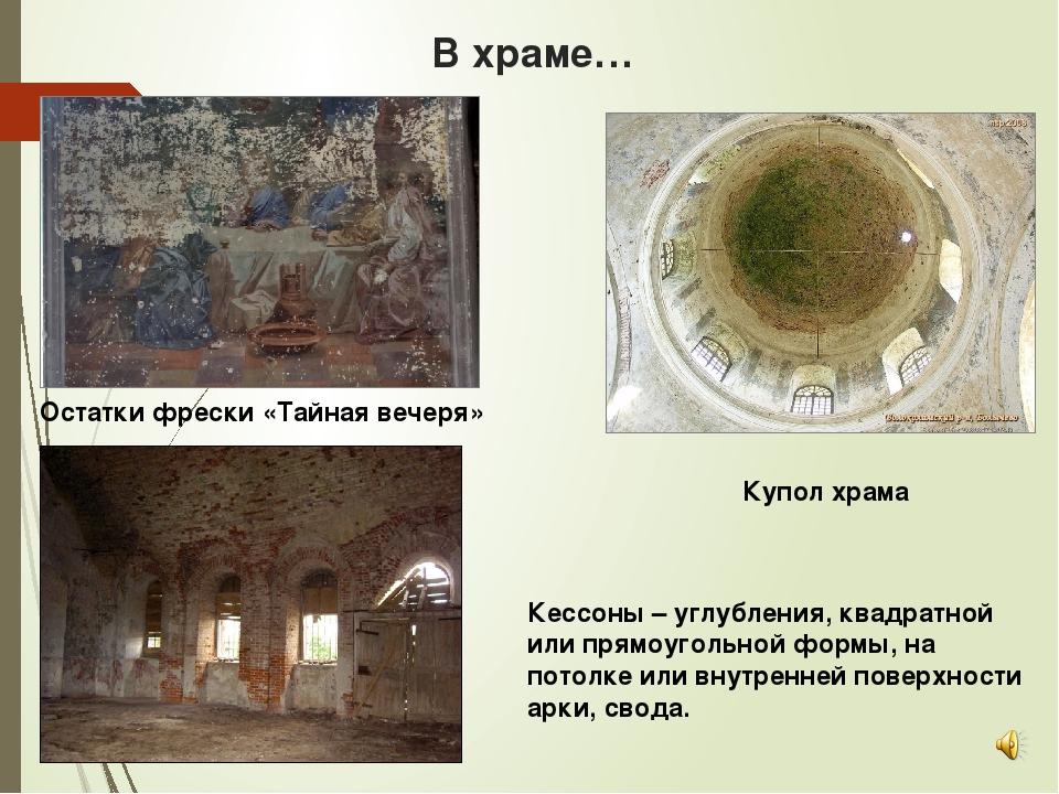В храме… Купол храма Кессоны – углубления, квадратной или прямоугольной формы...