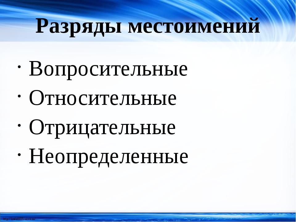 Разряды местоимений Вопросительные Относительные Отрицательные Неопределенные...