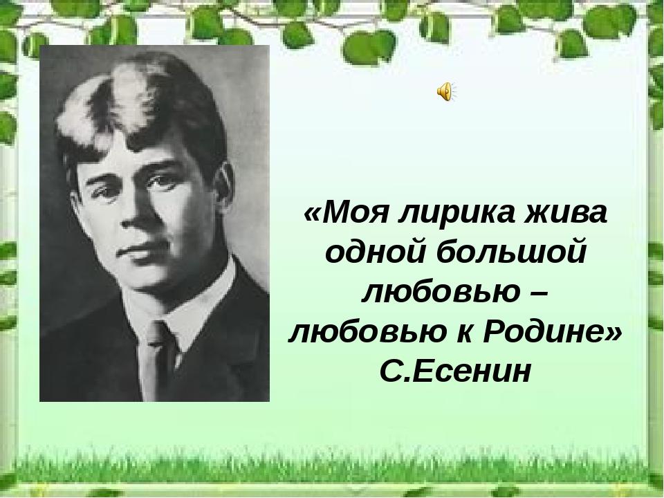 «Моя лирика жива одной большой любовью – любовью к Родине» С.Есенин
