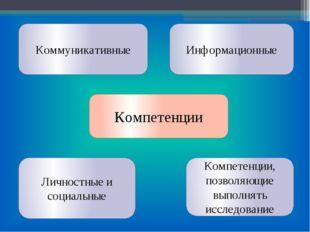 Компетенции Компетенции, позволяющие выполнять исследование Личностные и соци