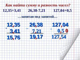 + 12,35 3,41 15 76 26,38 7,21 19,17 …запятая под запятой… _ 127,04 0,5 0 127,