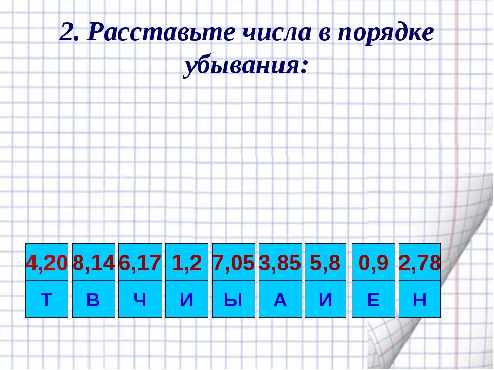 2. Расставьте числа в порядке убывания: