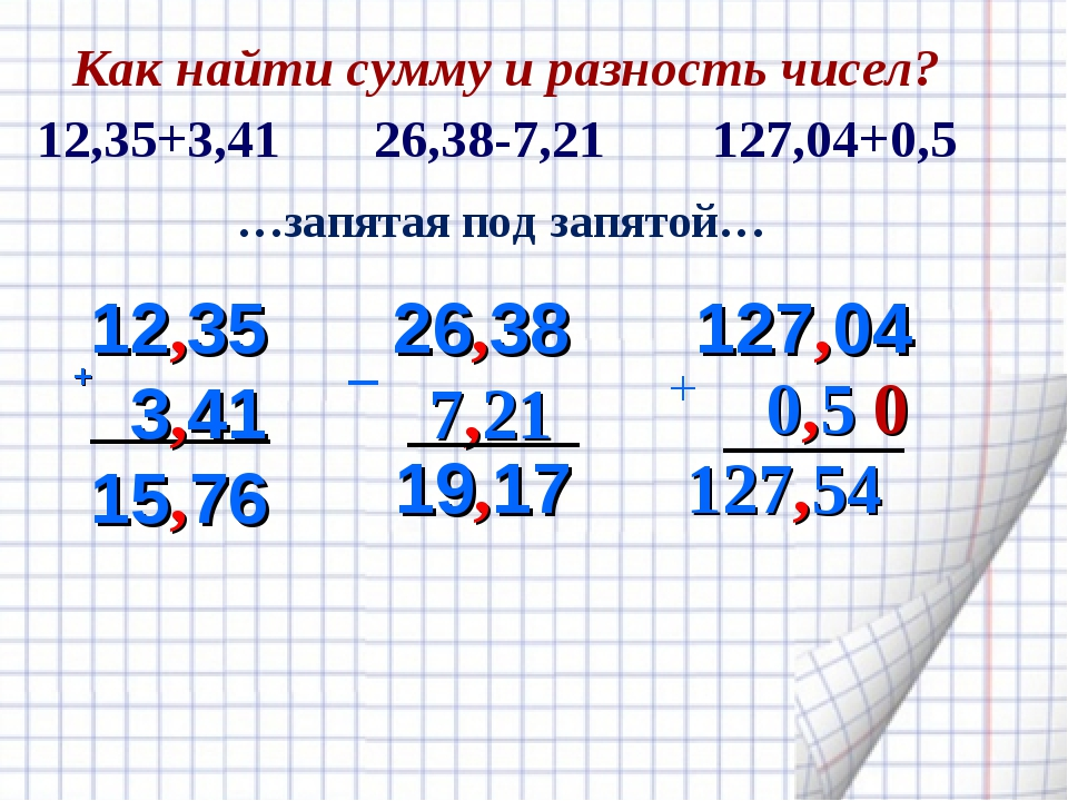 + 12,35 3,41 15 76 26,38 7,21 19,17 …запятая под запятой… _ 127,04 0,5 0 127,...