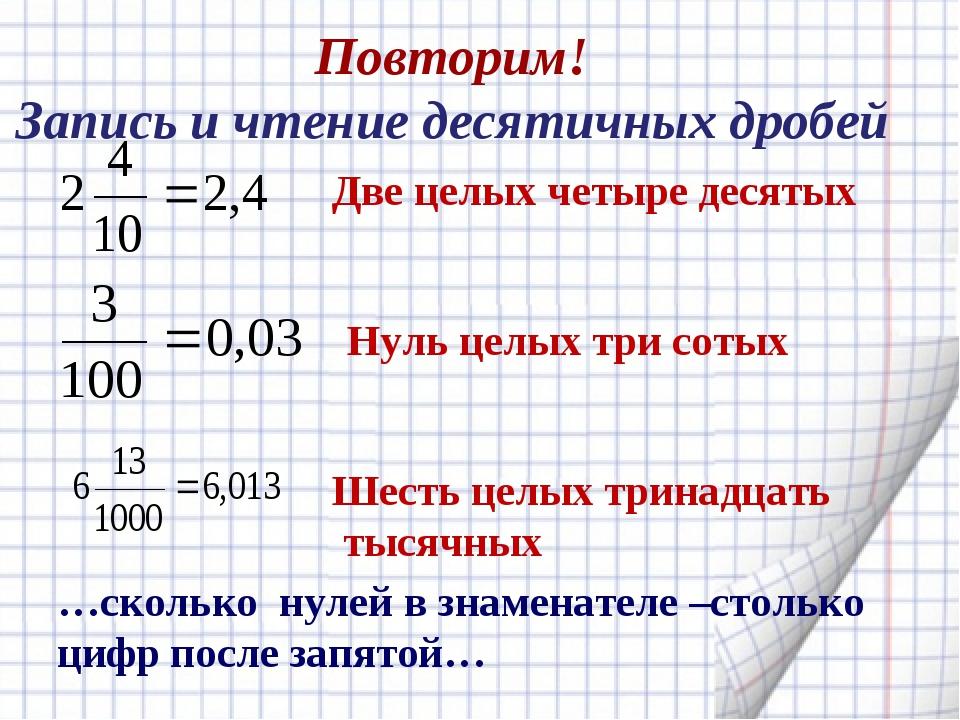 Повторим! Запись и чтение десятичных дробей Две целых четыре десятых Нуль цел...