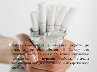 Табак выращивали в Америке задолго до открытия ее европейцами. В Европу это р