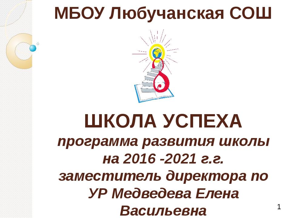 МБОУ Любучанская СОШ ШКОЛА УСПЕХА программа развития школы на 2016 -2021 г.г....
