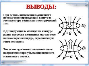 ВЫВОДЫ: При всяком изменении магнитного потока через проводящий контур в этом
