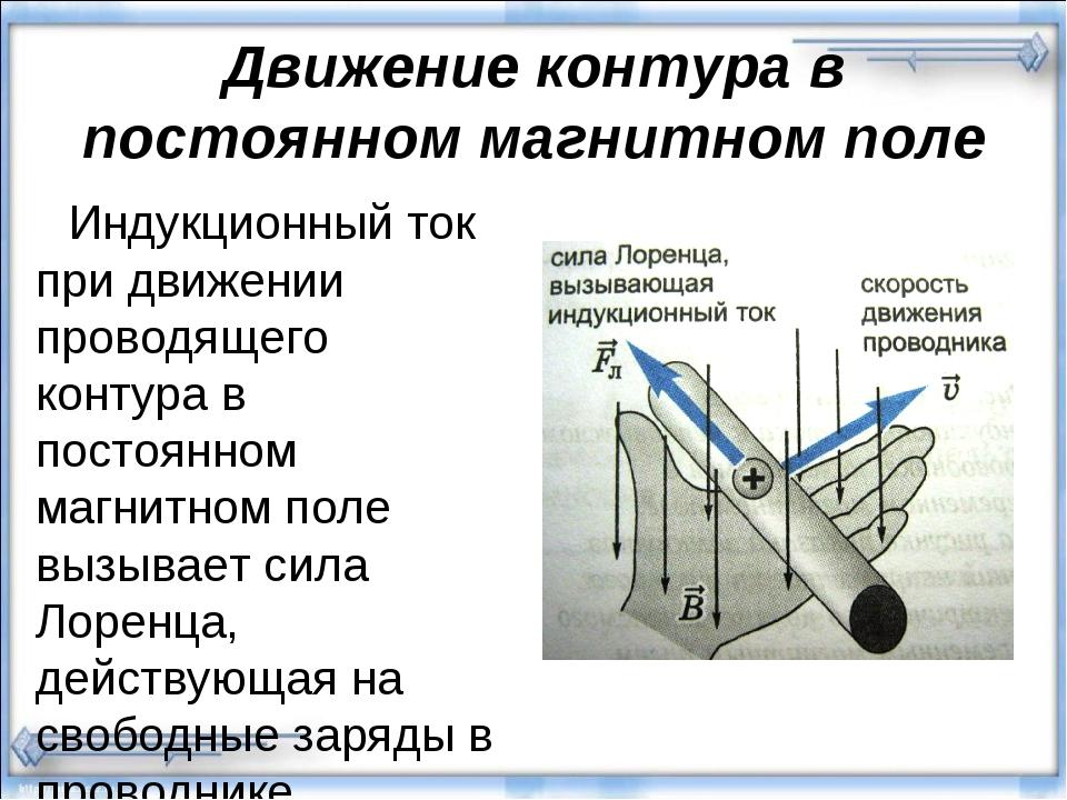 Движение контура в постоянном магнитном поле Индукционный ток при движении пр...