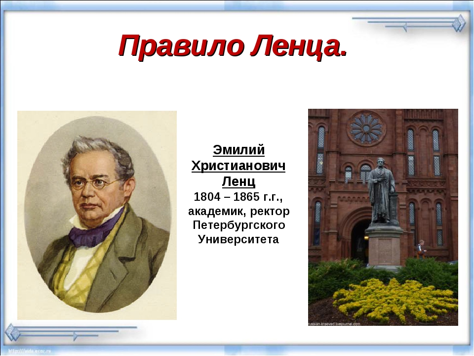 Правило Ленца. Эмилий Христианович Ленц 1804 – 1865 г.г., академик, ректор Пе...
