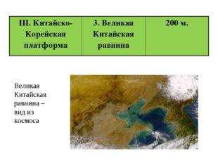 Великая Китайская равнина – вид из космоса III. Китайско-Корейская платформа
