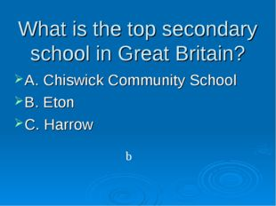 What is the top secondary school in Great Britain? A. Chiswick Community Scho