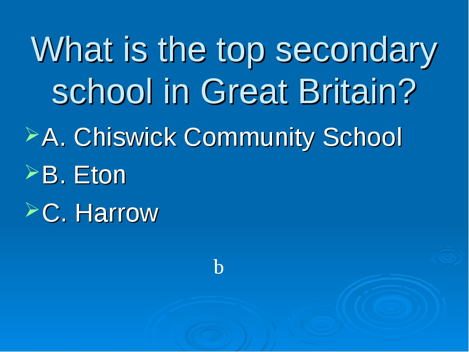 What is the top secondary school in Great Britain? A. Chiswick Community Scho...