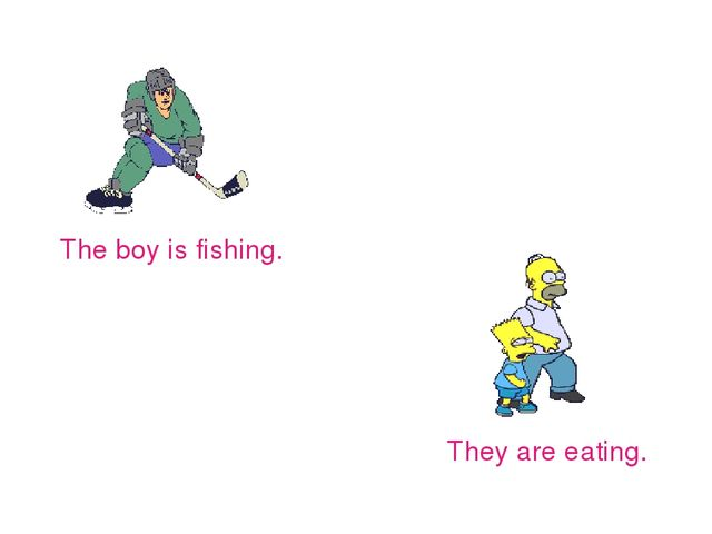 The boy is fishing. They are eating.