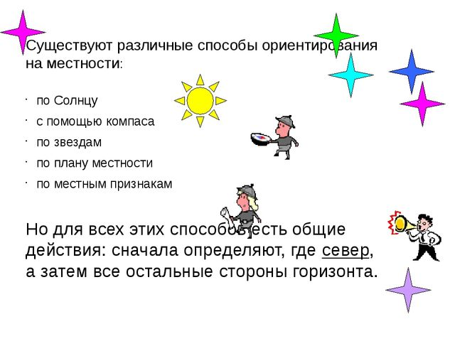 Существуют различные способы ориентирования на местности: по Солнцу с помощь...
