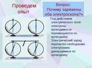 Проведем опыт Под действием электрического поля электроны проводимости перем