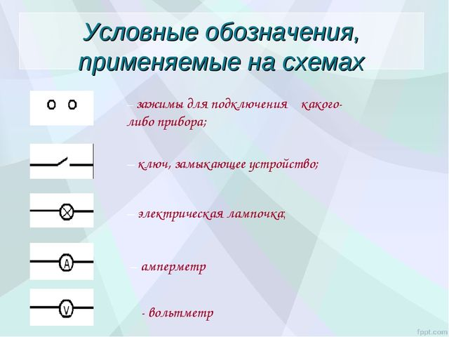 Условные обозначения, применяемые на схемах – зажимы для подключения какого-л...