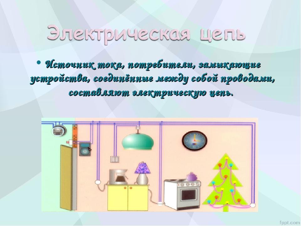 Источник тока, потребители, замыкающие устройства, соединённые между собой пр...