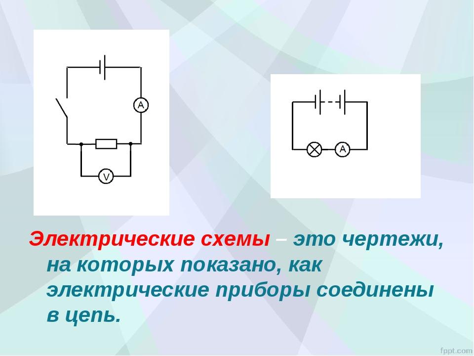 Электрические схемы – это чертежи, на которых показано, как электрические при...