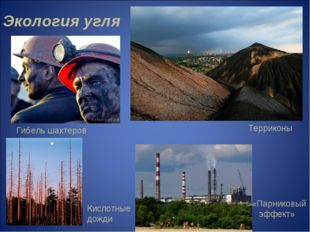 Экология угля Терриконы Гибель шахтеров Кислотные дожди «Парниковый эффект»